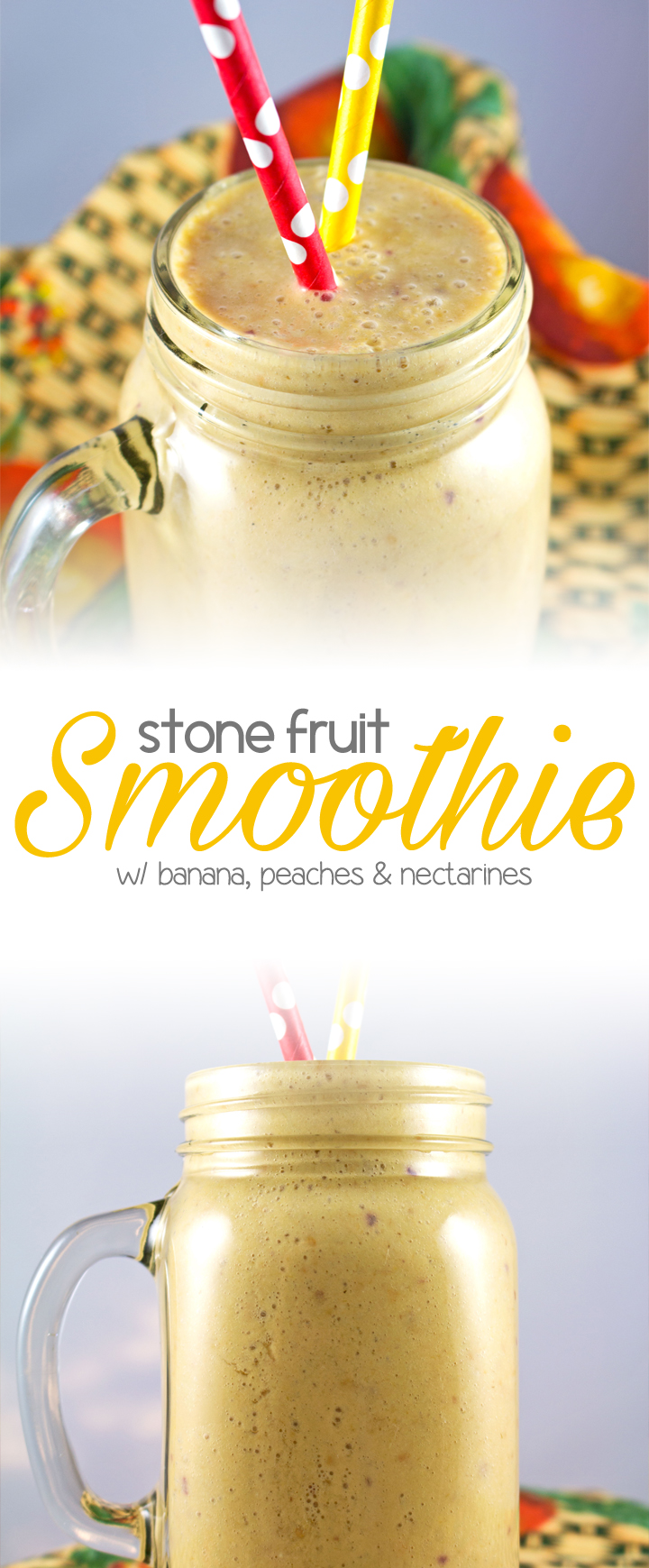 Stone Fruit Smoothie - One of my favorite smoothies, healthy & delicious. Loaded with banana, peach, nectarine, greek yogurt, honey & coconut milk!