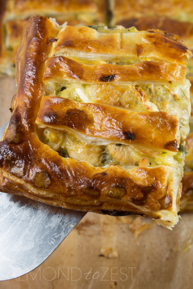 Chicken, Leek and Brie Pie - Comfort food never tasted so good with leeks cooked to a sweet caramelized state, mixed with chunks of juicy chicken pieces!