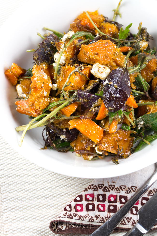 Crunchy Pumpkin Salad - Vibrant cumin roasted pumpkin chunks, crumbles of creamy feta, carrot, mixed lettuce leaves and a sweet balsamic dressing! Healthy and AMAZING