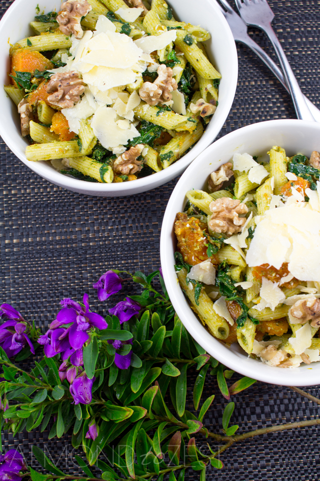 Three P Pasta Salad - Cumin infused roast PUMPKIN chunks, perfect PENNE pasta, all topped with delicious PARMESAN! A super nutritious, quick, easy and healthy pasta salad that can be eaten anytime, vegetarian friendly too!!