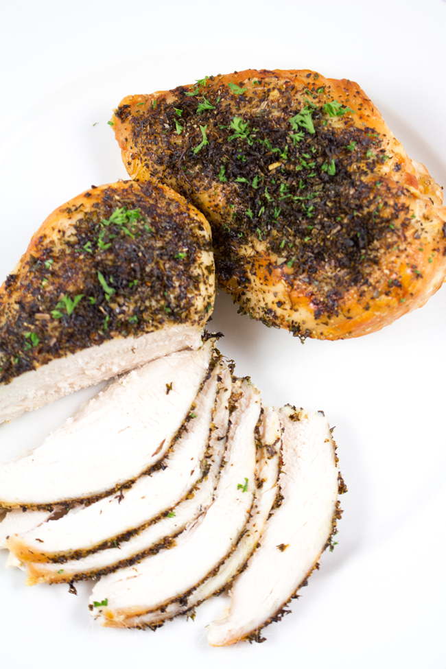 Herb Roasted Chicken Breasts - The most quick, easy and BEST way to roast chicken breasts - perfectly tender, packed with flavor and super healthy!!
