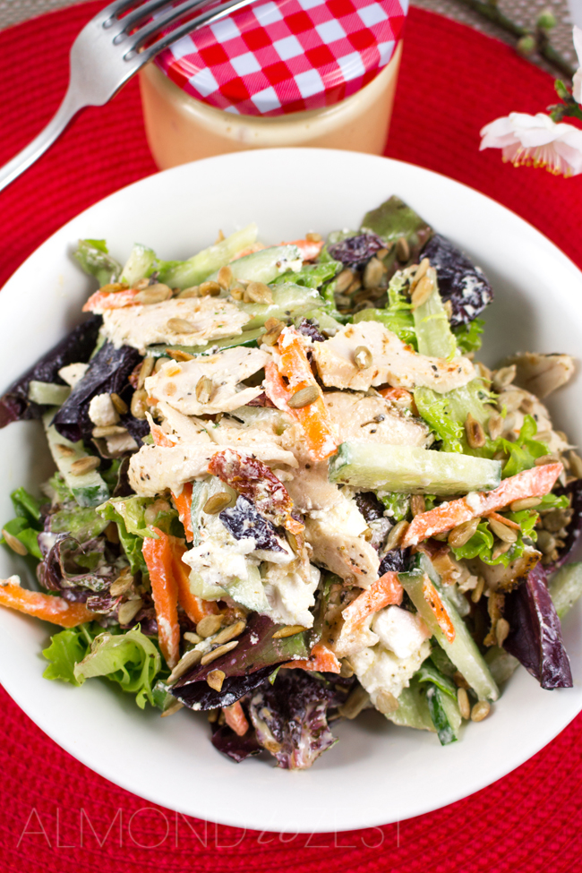 Herb Roasted Chicken Salad - Super healthy, easy and packed with protein! Roast chicken breast, mixed salad, chunks of creamy feta, sunflower seeds and sundried tomatoes!!