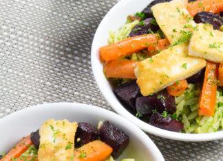 Roast Vegetable and Haloumi Orzo Pasta Salad
