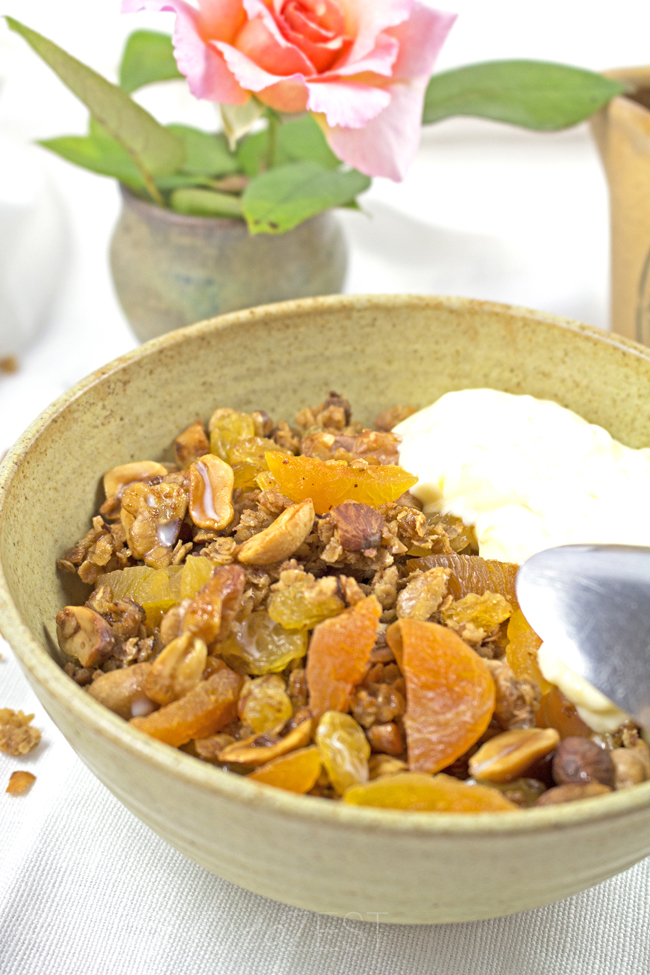The perfect way to start your mornings with this delicious granola exploding with toasted nuts and dried fruit. THE MOST DECADENT AND INDULGENT GRANOLA!!