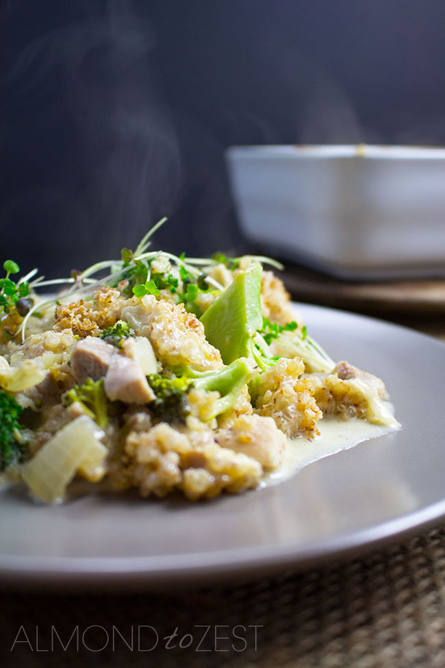 Chicken and Broccoli Casserole with Quinoa Crumble