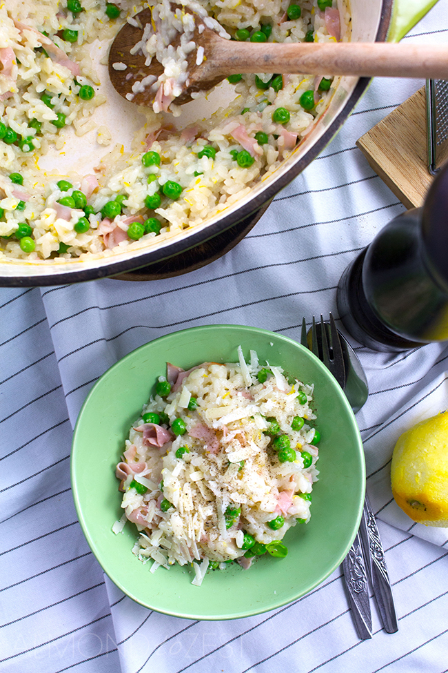 Zesty Pea, Ham and Parmesan Dutch Oven Risotto