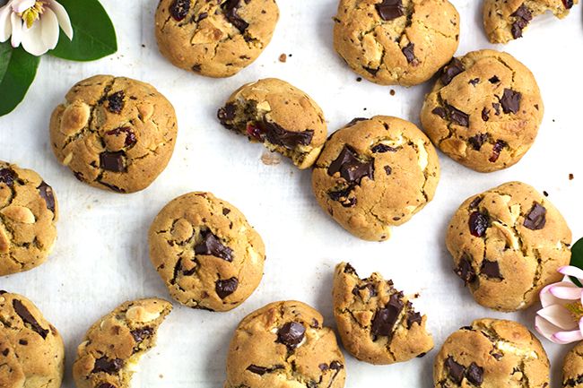 Dark and White Chocolate Cranberry Cookies