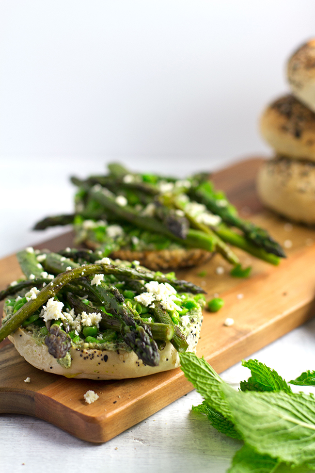 Smashed Pea and Asparagus Breakfast Bagels