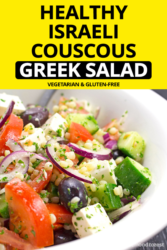 Israeli Couscous Greek Salad Recipe - Light and refreshing salad packed full of fresh produce perfect for getting healthy and losing weight!